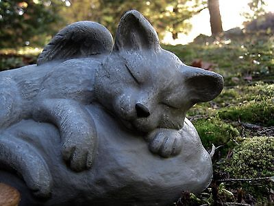 Cat Angel Statue, Concrete Cat Memorial, Cement Angel Cats, Cat With Wings Art