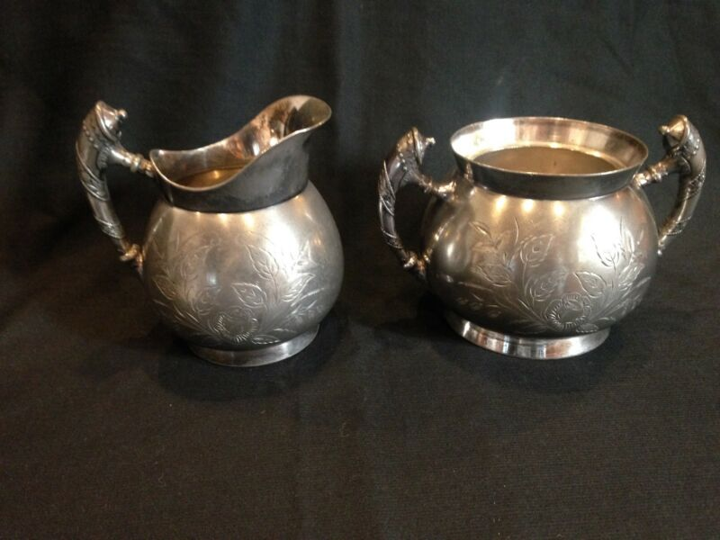 W M ROGERS MFG. CO. - QUADRUPLE SILVER PLATED SUGAR & CREAM - STAMPED