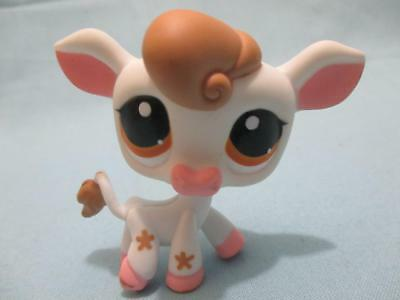 Littlest Pet Shop White Pink Flower Cow w Dot Eyes 1210 Authentic Lps