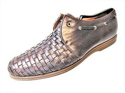 Gianni Versace Men's Size 8 Vtg Brown Weaved Leather 1 Eyelet Loafer Boat Shoe