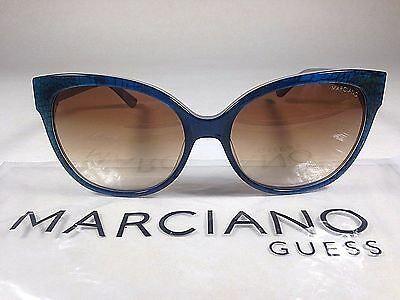 Guess By Marciano Women's Cat Eye Sunglasses Blue Snake Brown Gradient Lens New