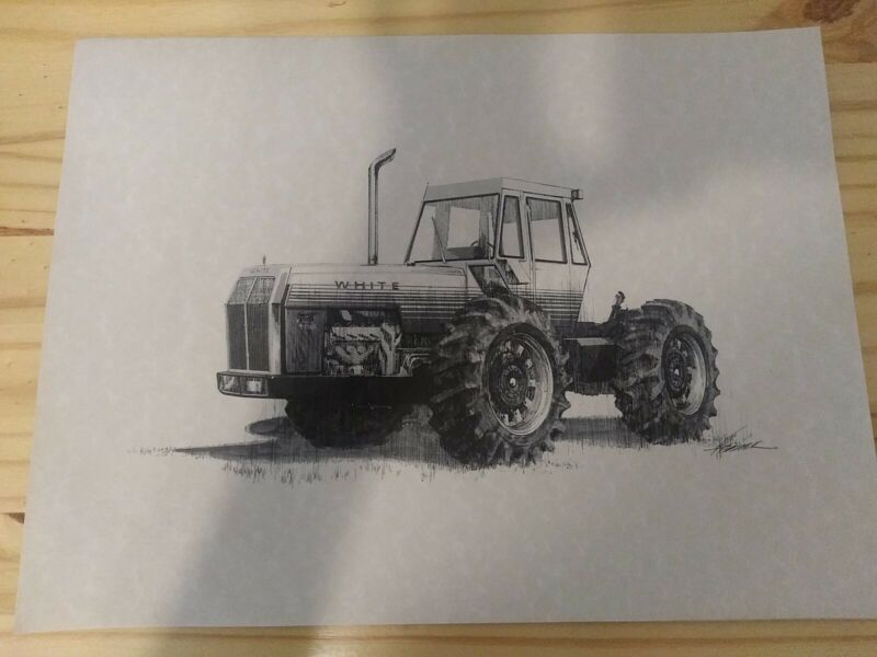 Vintage 12x16 White Boss Line 4-150 Tractor Print Implement Advertising 1973 NOS