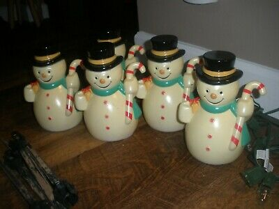 5 Snowman set Light up Pathway Lawn Stakes Blow Mold Yard Decorations vtg?
