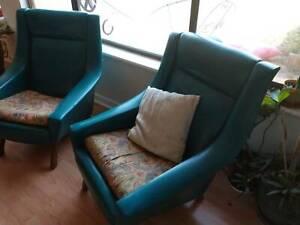 rerto mid century armchair x2