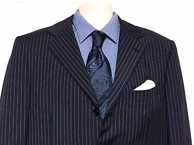 Luigi Borrelli Navy Red Stripe Suit Bespoke 54L/44L Vivara Recent