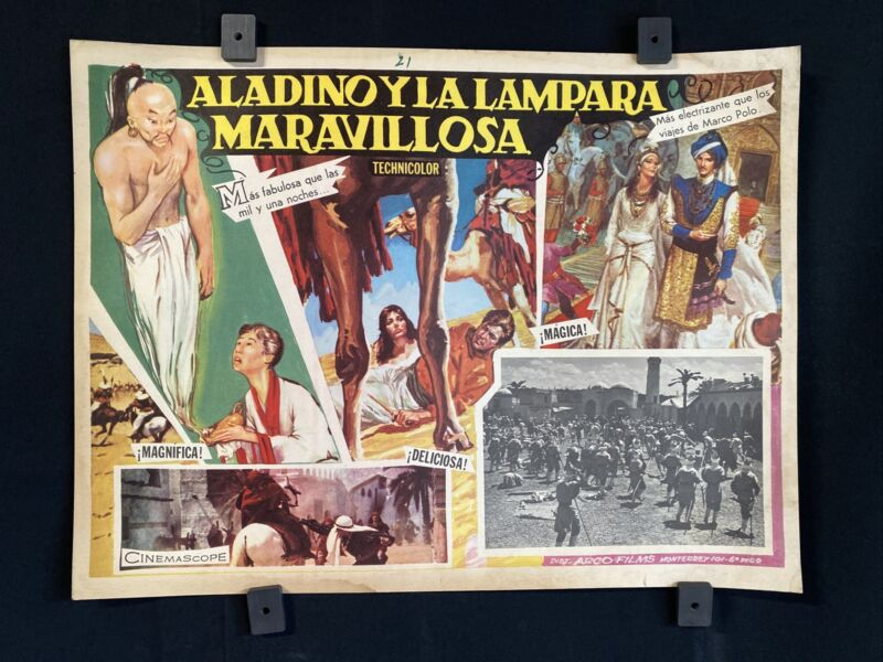 """Vintage ALADINO Y LA LAMPARA MARAVILLOSA~ Authentic Mexican Lobby Card~16""""x12"""""""