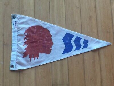 VINTAGE INDIAN CHIEF NYLON PENNANT- RED, WHITE & BLUE- VALLEY FORGE MADE IN USA