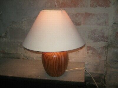 vintage bhs chunky wood pine lamp 70's lighting used working