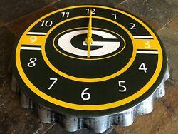 Green Bay Packers - Metal Bottle Cap Wall Clock - 13.75 Diameter wSecond Hand