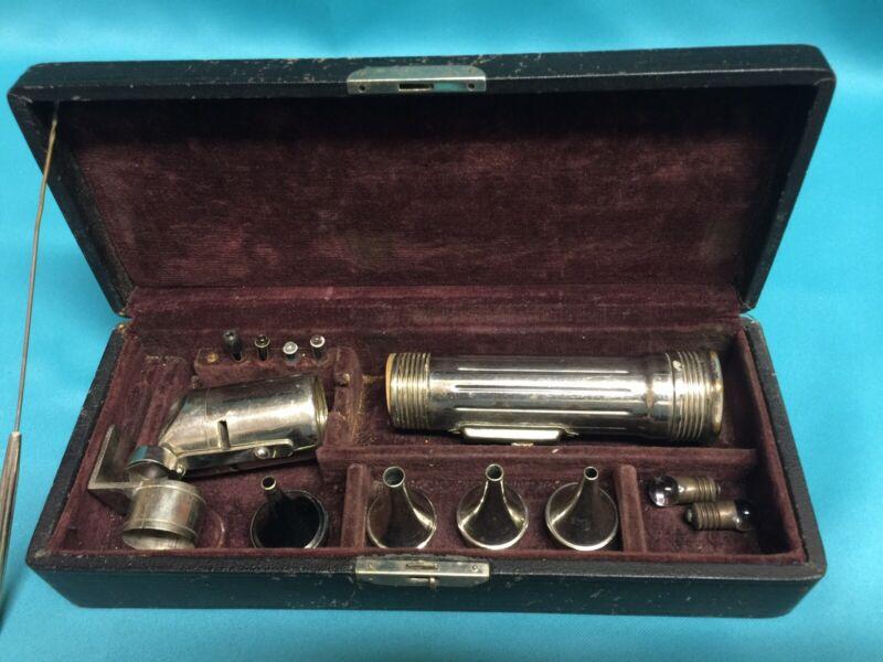 Antique Vtg Medical Set Otoscope Eye Ear Nose Throat 1800s In Velvet Case Bulbs