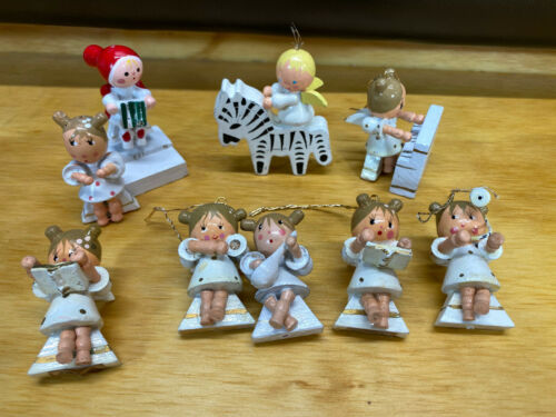 Vtg Miniature Wood Christmas Angel White Ornaments Lot Of 9 Piano Zebra