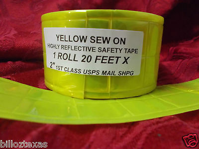 20 Sew On Reflective Safety Yellow Green Safety Tape. Usa Shipper Free Shpg