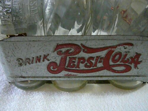 DRINK PEPSI-COLA METAL 6 PACK CARRIER DOUBLE DOT USED CONDITION WITH BOTTLES