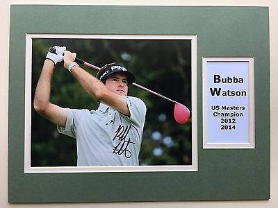 "Golf Bubba Watson Signed 16"" X 12"" Double Mounted Display"