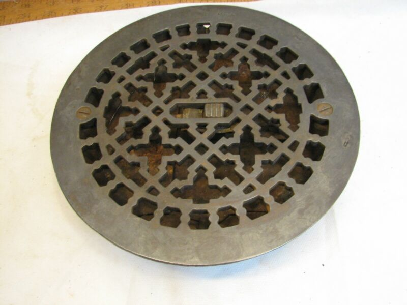 Round Eastlake Victrian Cast Iron Floor Register Heat Grate Vent Grille Louver