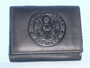 UNITED STATES AIR FORCE  (USAF)    Leather TriFold Wallet    NEW    black  3s