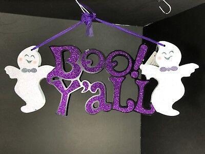 Halloween Decorations Interior Exterior Front Back Door Decor Sign Purple White - Exterior Halloween Decorations