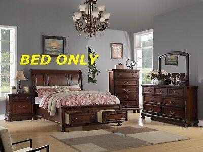 Queen Size Bedframe Traditional Bedroom Furniture Cherry Veneer 1pc Sleigh Bed Bedroom Pine Sleigh Bed