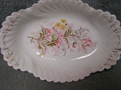 1880 GERMAN PORCELAIN BERRY BOWL FLUTED MOSS ROSE FLWR Fluted Berry Bowl