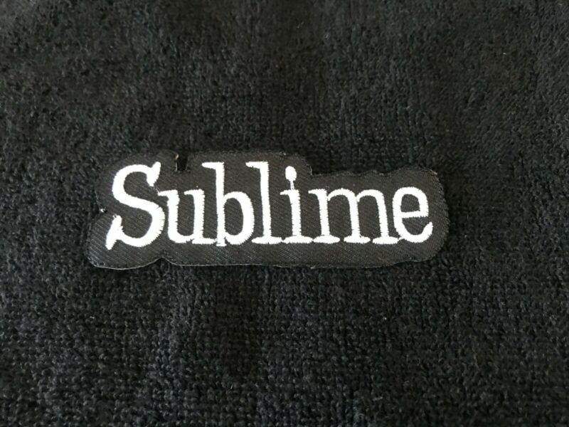 NEW SUBLIME Iron On Patch Black with Silver Lettering FREE SHIPPING
