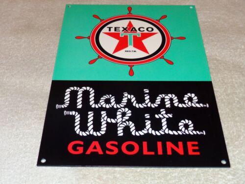 """VINTAGE """"TEXACO MARINE WHITE GASOLINE W/ SHIPS WHEEL"""" 12"""" METAL GAS & OIL SIGN!!"""