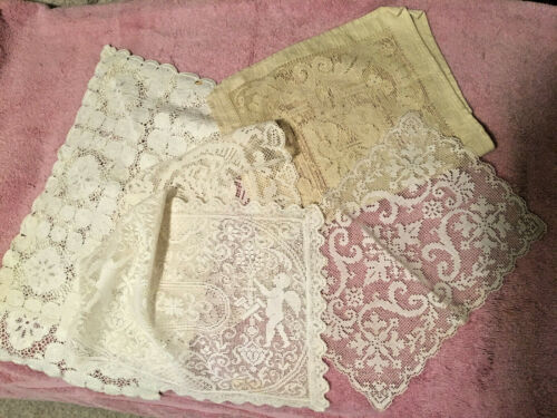 SIX (6) VINTAGE FABRIC  DOILIES - COLLECTIBLE - BEAUTIFUL