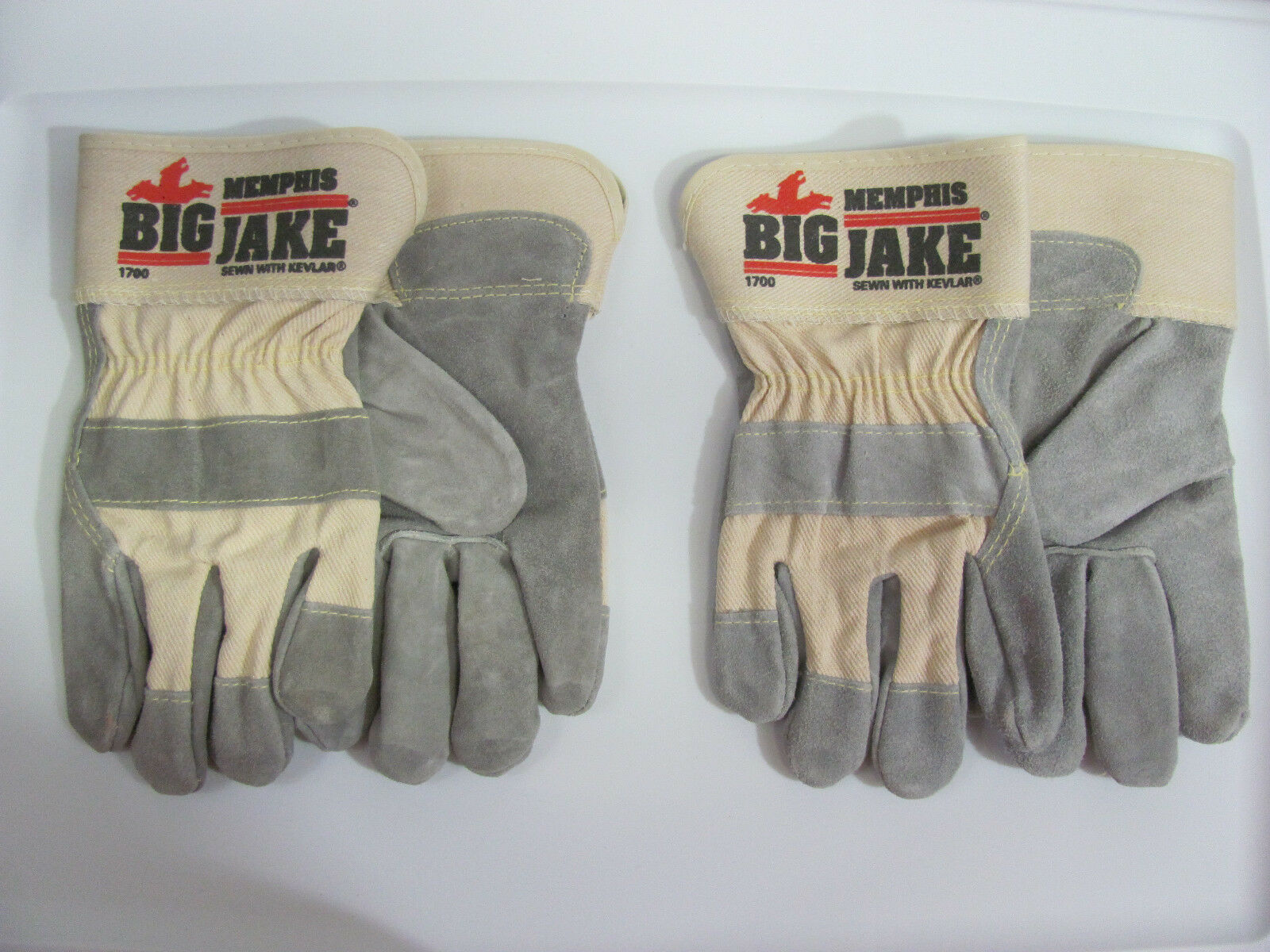 2 Pair Memphis 1700 Big Jake Leather Palm Work Gloves W DuPo