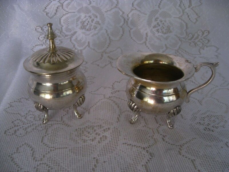 Vintage Silver Plate Miniature Set - Sugar Bowl wit Lid and Creamer