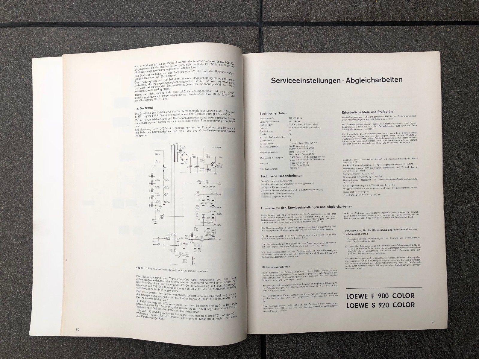 Loewe Opta Service-DokumentationFarbfernsehgeräte Schaltungen von 1967 bis 1969