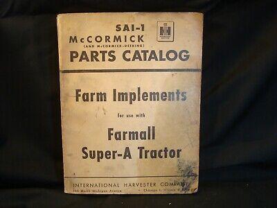 Mccormick Parts Catalog Sai-1 Farm Implements For Farmall Super-a Tractors