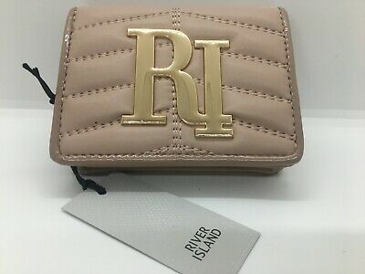 River Island Cream Quilted RI Foldout Purse new with tags