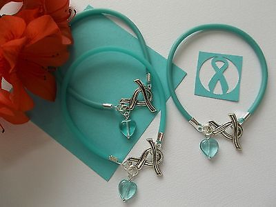 3 Ovarian Cancer Awareness Bracelets With Ribbon Toggle Clasp