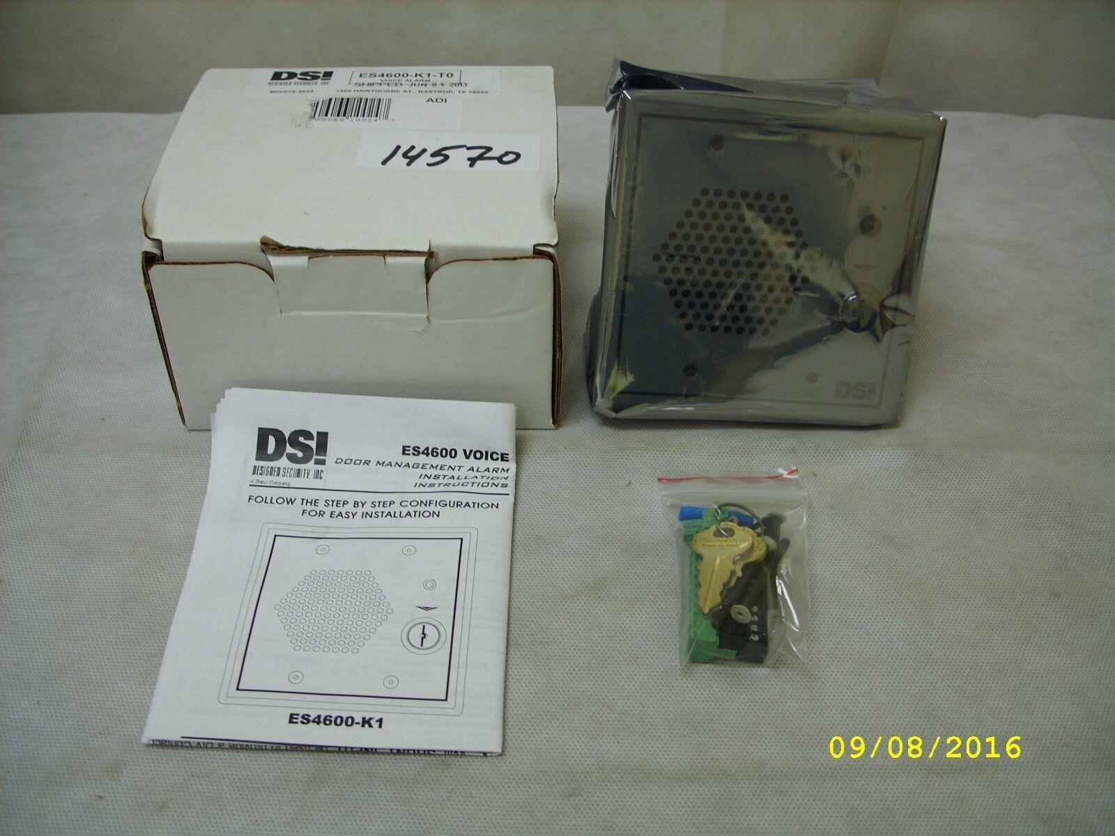 NEW Designed Security Inc. DSI - Voice Synthesized Door Prop Alarm ES4600-K1-T0