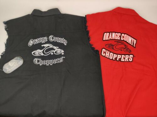 Orange County Choppers Motorcycle Biker Mens L Sleeveless Embroidered Shirt