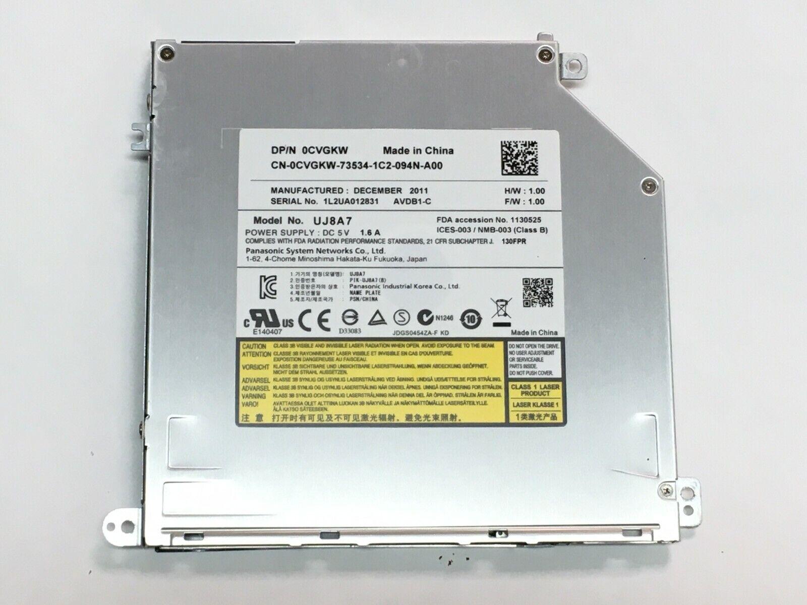 Lecteur graveur cd dvd 0cvgkw uj8a7 pour pc portable dell xps 15z p12f