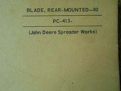 John Deere 80 Rear Mounted Blade Parts Catalog - Pc-413
