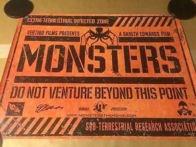 Monsters ORIGINAL UK QUAD CINEMA POSTER Signed Gareth Edwards Rogue 1 Star Wars