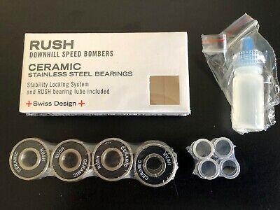 8 Pcs S608 2rs Ceramic Ball Stainless Rings Skateboard Bearings 8x22x7 Mm Oil