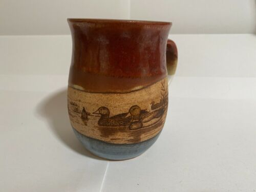 MUGS - HANDMADE POTTERY MUG - BROWN BLUEBEIGE - BEAUTIFUL DUCKS ON A LAKE GREAT