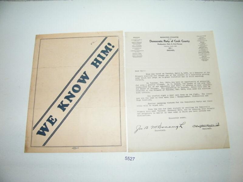 1931 Democratic Party Cook County Endorsement Anton Cermak Mayor We Know Him