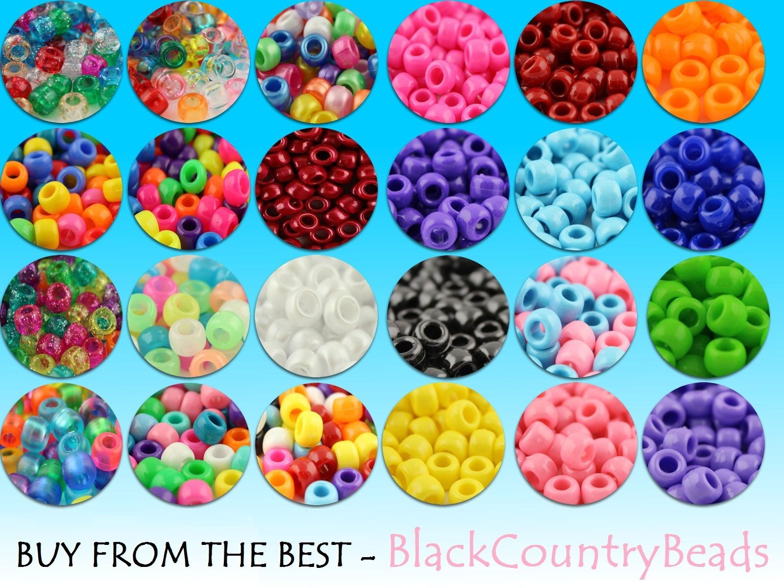 All Colours Opaque Pony Beads Multi Listing 100//500//1000 Dummy Clips