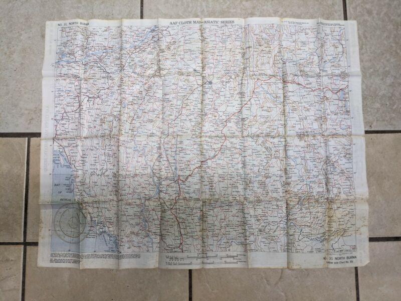 ww ll military cloth map of Burma South & North U.S. Army Washington DC 1944