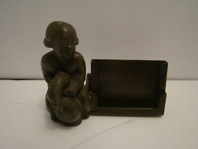Vintage Metal Business Card Holder Baby On Goose