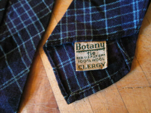 Vintage clergy BOTANY 100% wool tie patented, purple,black,blue plaid