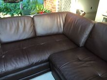 6 seat leather corner lounge chocolate brown Horsley Wollongong Area Preview
