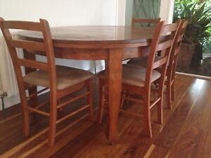 Wooden extendable solid wood dining table and chairs Brighton Bayside Area Preview