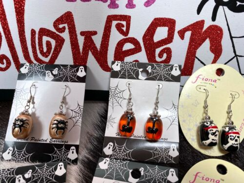 Halloween Earrings Wholesale Lot 6 Ghost Spider Pirate Cat Tiger Print Free Ship