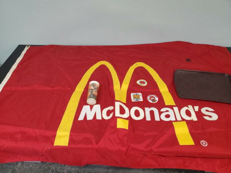 Vintage mcdonalds lot cup, patches ,flag and tray