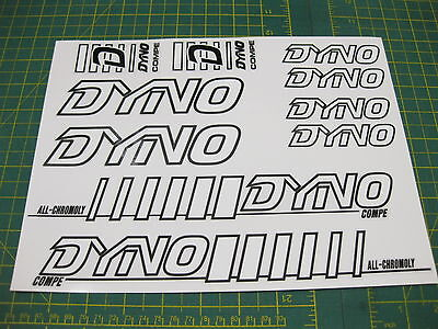 Set of Dyno Compe BMX stickers White with Black Outline