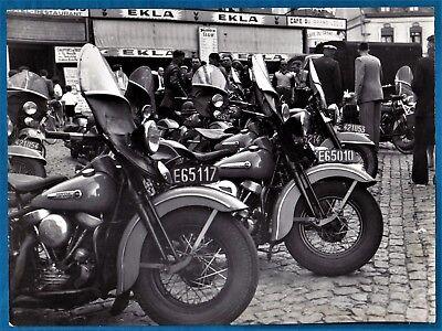 large vintage photo motorbike bike Harley Davidson police foto moto Belgium 1950